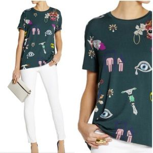 Mary Katrantzou Printed Stretch Jersey Tee Shirt
